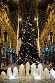 Christmas in Victoria Quarter, Leeds, England - one of Mike's jobs! this year it's a big disco ball tree, which sounds tacky but looks fantastic!