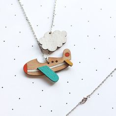 Wooden Laser Cut Aeroplane Necklace