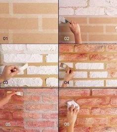 How to construct DIY brick walls? - No matter you are looking to build a small patio DIY brick wall or an outside boundary wall for your house there are some basics that you must know be. Fake Brick Wall, Faux Brick, Brick Walls, Faux Stone Walls, Exposed Brick, Diy Wand, Mur Diy, Diy Wall Painting, House Painting