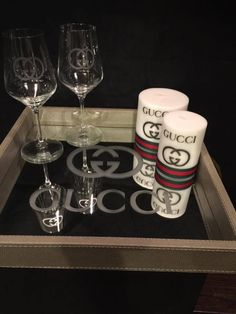 Gucci Etched Glass Vinyl Decals - Now you can give your Glass & Mirrored Decor the look of Etched Glass without the hassle of chemicals & mistakes.and it's applied the same way as regular vinyl. Custom Bottles, Custom Tumblers, Chanel Stickers, Etched Glass Vinyl, Giant Shoe Box, Harley Davidson Jewelry, Gucci Nails, Diy Glasses, Personalized Wooden Signs