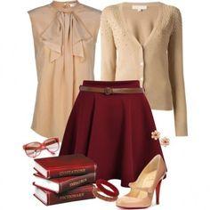 Amo questo look bon ton. Abbinamento tra capi classici come una gonna a vita alta e una camicetta con fiocco. Bellissimo!!