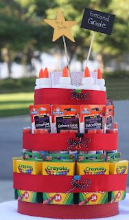 Back To School Supply Cake. Would it be inappropriate to put a bottle of wine on the inside for the base?