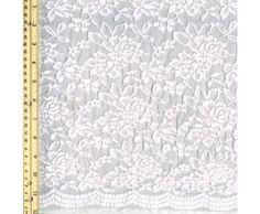 Stylish Fabric - Off White Scallop Florals Pattern Lace Fabric