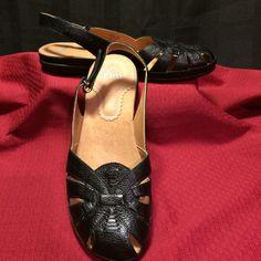 Womens Shoes 10 M Black Leather Flat Slingback Casual Yuu Daru #YUU #Slingbacks #Casual