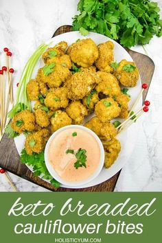 crispy florets, coated with pork rind breadcrumbs and baked to low carb perfection! Spicy, delicious and healthy too! #holiosticyum Cauliflower Bread, Cauliflower Bites, Cauliflower Recipes, Sauce Recipes, Real Food Recipes, Keto Recipes, Easy Appetizer Recipes, Appetizers, Keto Pork Rinds