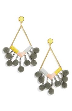 Free shipping and returns on BaubleBar Geo Drop Earrings at Nordstrom.com. Complete your vintage look with the stunning style of mixed-media drop earrings accented with shimmering beads and pompoms.
