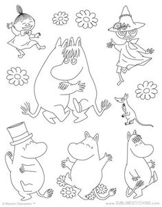 Awesome Most Popular Embroidery Patterns Ideas. Most Popular Embroidery Patterns Ideas. Iron On Embroidery, Embroidery Transfers, Vintage Embroidery, Embroidery Patterns, Knitting Patterns, Stitch Patterns, Coloring For Kids, Coloring Pages, Tove Jansson