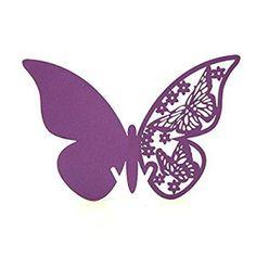 Lot de 50 feuilles de Papier pour Table de mariage Motif Papillon Porte Verre à vin pour décorations de mariage cartes (Mauve)