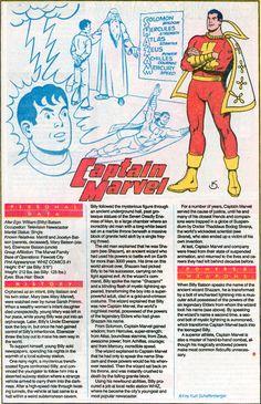 "dccomicsshowcase: "" Who's Who entry for Captain Marvel (SHAZAM), art by Kurt Schaffenberger, "" Original Captain Marvel, Captain Marvel Shazam, Hq Marvel, Dc Comics Superheroes, Dc Comics Characters, Marvel Dc Comics, Superman, Batman, Justice League"