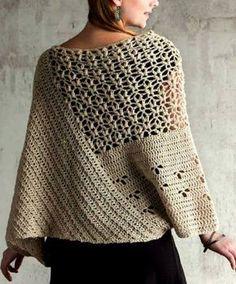 Fabulous Crochet a Little Black Crochet Dress Ideas. Georgeous Crochet a Little Black Crochet Dress Ideas. Pull Crochet, Gilet Crochet, Crochet Poncho Patterns, Crochet Blouse, Crochet Scarves, Crochet Shawl, Crochet Clothes, Knitting Patterns, Knit Crochet