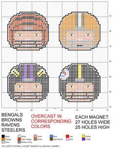 NFL AFC North Football Helmet Magnets plastic canvas pattern by Michael Kramer
