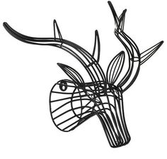 General Eclectic Wire Stag Head in black | Wanda Harland Design Store