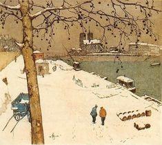 Tavik Frantisek Simon Quai de la Tournelle in Snow, Paris, 1909 Snow Scenes, Winter Scenes, Hunters In The Snow, Pont Paris, Hokusai, Snow Art, Post Impressionism, Winter Art, Winter Snow