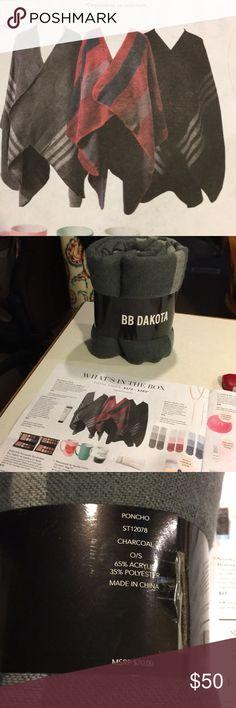 B.B. Dakota Poncho Brand new with tag. Grey BB Dakota poncho wrap. Perfect condition. BB Dakota Sweaters Shrugs & Ponchos