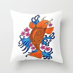 fish with water and flowers Throw Pillow by Seymour Art - $20.00