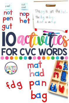 CVC word work can become a little boring. Check out this blog post for some new ways to practice CVC words! Nonsense Words, Cvc Words, Teaching Writing, Teaching Ideas, Basic Sight Words, Phonics Centers, Kindergarten Learning, Word Sorts, Reading Activities