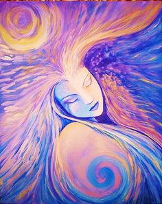 """Kristie,  this Pin is titled """" Angel Dreams"""". It doesen't say who is having the dream but it is clear who is the object of the dream,.  Kristie, night after night I have Goddess Dreams.  She is a georgous woman , intelligent and has Empathic skills. That adds to our love connection..  She makes my heart and Soul very happy. Popular Paintings, Paintings I Love, Goddess Names, Sacred Feminine, Divine Feminine, Angel Artwork, Fairy Pictures, Love Illustration, All Art"""