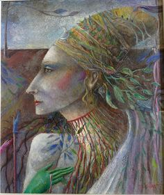 """""""Head With Leaves"""" by Elizabeth Taggart- Private Collection"""