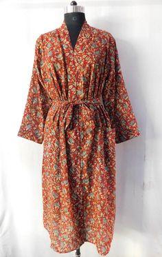 Floral Print Long Dress Intimate Sleepwear Summer Casual Dressing Gown Cotton Bathrobe Beach Wear Kimono Hand Block Print Tunic