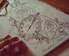 Pocket watch with roses - tattoo design for a lovely lady