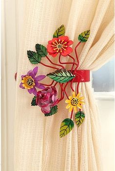 Floral tie backs for curtains or drapes. Very colorful for bright room, bedroom, Mexican or Caribbean style
