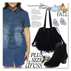 """Fall Look: Plus Size Dresses"" by jecakns ❤ liked on Polyvore featuring dress, DenimDress, fallfashion and falltrend"