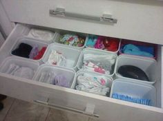 Wipe containers or Baby formula containers to drawer dividers