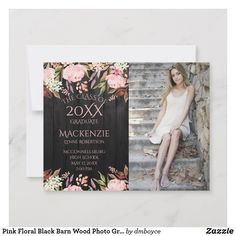 Shop Pink Floral Black Barn Wood Photo Graduation Announcement created by dmboyce. Graduation Announcement Cards, Black Barn, Graduation Party Invitations, Graduation Photos, Photo On Wood, Vinyl Designs, Barn Wood, Party Supplies, Floral