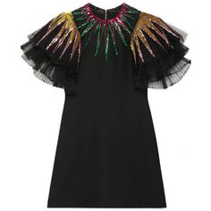Gucci Embroidered Sequin Tulle Dress (19.230 RON) ❤ liked on Polyvore featuring dresses, black, embroidered cocktail dress, multi color sequin dress, layered dress, pleated dress and sleeve cocktail dress
