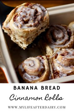 These soft, sweet banana bread cinnamon rolls make the perfect breakfast for any morning! Cinnamon Roll Frosting, Cinnamon Roll Dough, Cinnamon Twists, Cinnamon Rolls, Waffle Recipes, Brunch Recipes, Bread Recipes, Breakfast Recipes, Dessert Recipes