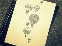 hot air balloon tattoo designs