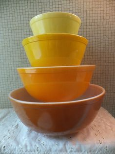 VINTAGE Pyrex Fall Harvest Solid Color Nested Mixing Bowl Set of 4