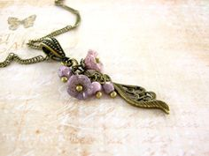 Dainty Brass Purple Flower Necklace - Bronze Leaf Pendant Jewelry - Czech Flower Pendant Lavender Lilac Floral Vintage Style Jewelry