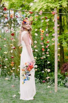 Greenhouse Wedding With Tons Of Color - Real Weddings - Loverly Whimsical Wedding, Boho Wedding, Summer Wedding, Rustic Wedding, Wedding Flowers, Wildflower Wedding Bouquets, Wedding Wall, Boho Bride, Wedding Colors