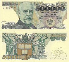 Polish 500,000-złoty banknote with Henryk Sieńkiewicz.