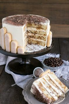 Tiramisu Cake turns your favourite Italian dessert into a delicious and decadent layer cake. Coffee soaked layers paired with mascarpone buttercream. Italian Desserts, Just Desserts, Delicious Desserts, Yummy Food, Food Cakes, Cupcake Cakes, Cupcakes, Baking Recipes, Cake Recipes