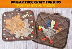 Dollar Tree Craft for Kids - Thanksgiving Keepsake Potholders