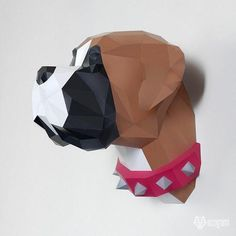 DIY boxer dog papercraft trophy perfect for your wall decor by EcogamiShop Origami 3d, Feuille A3, Puzzles 3d, Decoration Photo, Make Your Own, Make It Yourself, Paper Glue, Boxer Dogs, Doggies