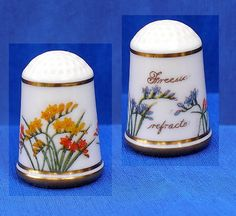 Franklin Porcelain Flowers of Holland Thimble Freesia | eBay