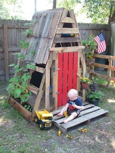 Pallet playhouse with pole beans.