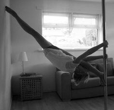 I find this amazing that their are names for pole dancing moves and the flexibility of this girl. As well as weird because she actually has a strippers pole in the middle of her living room?!