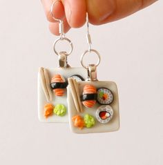 Sushi plate earrings dollhouse food Polymer clay by Zoozim on Etsy