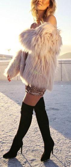 Faux fur coat + sequins.