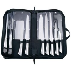"Slitzer 10pc Professional Surgical Stainless Steel Cutlery Set Set Includes: Chef Knife Cleaver Bread Knife Butcher Knife Meat Knife Utility Knife Curved Paring Knife Meat Fork Sharpening Steel Zippered Canvas Case Measuring 17-3/4"" x 9-7/8"" x 2-1/4"""
