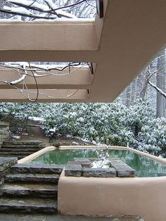"Frank Lloyd Wright's famous ""Fallingwater"" in winter. This is the guest house pool. Falling Water House, Falling Waters, Falling Water Frank Lloyd Wright, Frank Lloyd Wright Homes, Organic Architecture, Architecture Images, Amazing Architecture, Architecture Details, Interior Architecture"