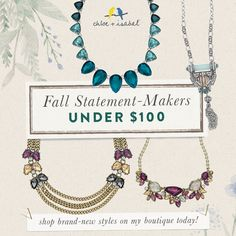 Fall Statement-Makers under $100 - shop brand-new styles on my c+i boutique 7 pm pacific tonight!!! Click thru!!!!