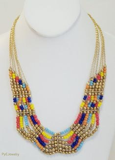 Note placement of spacer bars.  Gold Chain Multi Colored Beaded Necklace / Multi Strand Necklace.