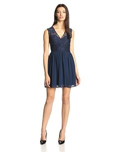 Glamorous Women's Lace Detail Top Fit and Flare Dress, Navy, Small - http://r1m.biz/?p=3399