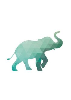 Elephant Print Triangle Pattern Geometric Art Wall Poster