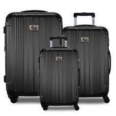 Smoothly maneuverable and durable, MONET is built to absorb impact and resist scratches. Sleek Black Corner Guards to protect during transit add to the design as well as the functionality.  A Classic luggage set built to last! Hardside Luggage, Luggage Sets, Monet, Wheels, Classic, Easy, Black, Design